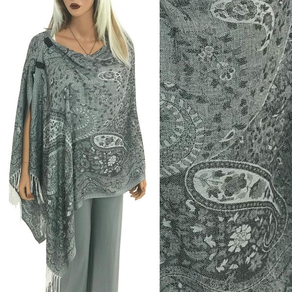 wholesale Pashmina Style Shawls with Buttons Mixed Paisley #14 -