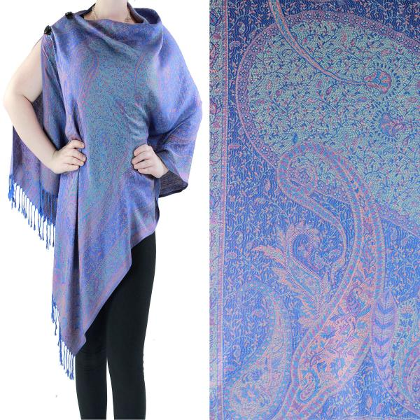 Pashmina Style Shawls with Buttons Large Paisley #16* -