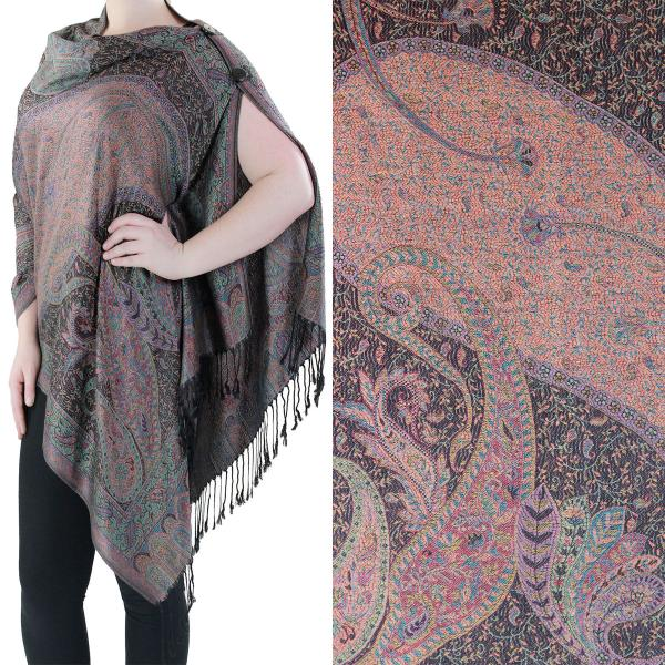 Pashmina Style Shawls with Buttons Large Paisley #22 -