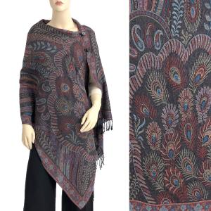 Pashmina Style Shawls with Buttons Feathers - Black-Blue-Wine #24 -