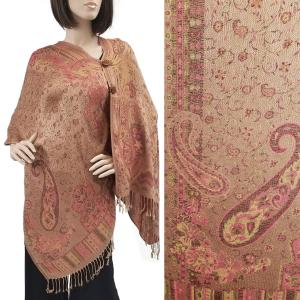 Pashmina Style Shawls with Buttons Paisley w/ Border - Tan-Raspberry #41 -