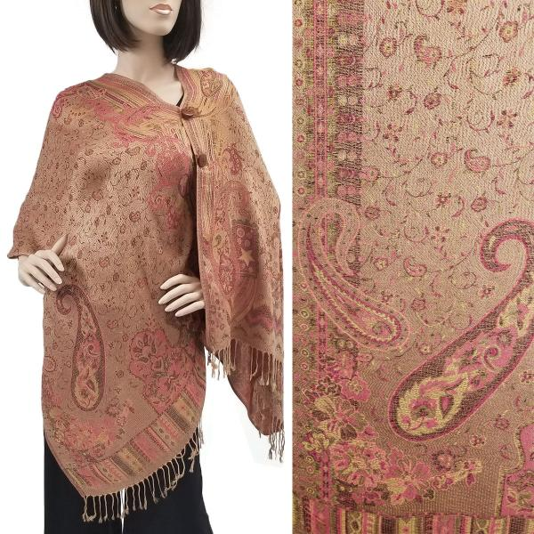 wholesale Pashmina Style Shawls with Buttons Paisley w/ Border - Tan-Raspberry #41 -