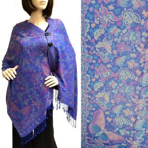 Pashmina Style Shawls with Buttons Butterflies - Royal #42 -