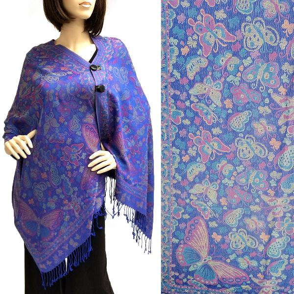wholesale Pashmina Style Shawls with Buttons Butterflies - Royal #42 -