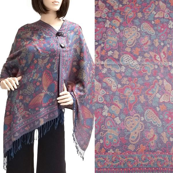 wholesale Pashmina Style Shawls with Buttons Butterflies - Navy #43 -