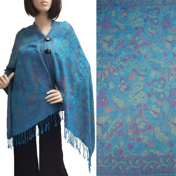 Pashmina Style Shawls with Buttons Butterflies - Turquoise #44 -