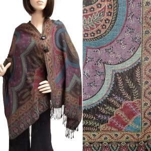Pashmina Style Shawls with Buttons Big Paisley - Black #47 -