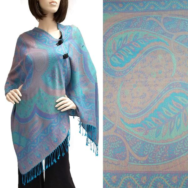 wholesale Pashmina Style Shawls with Buttons Big Paisley - Turquoise #49 -