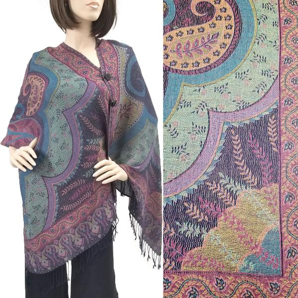 wholesale Pashmina Style Shawls with Buttons Big Paisley - Navy #50 -