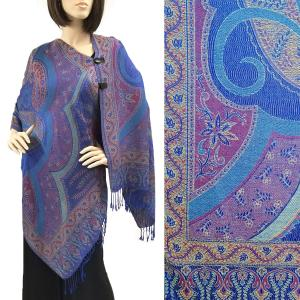 Pashmina Style Shawls with Buttons Big Paisley - Royal #51 -