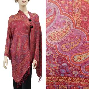 Pashmina Style Shawls with Buttons Paisley Flowers - Burgundy #52 -