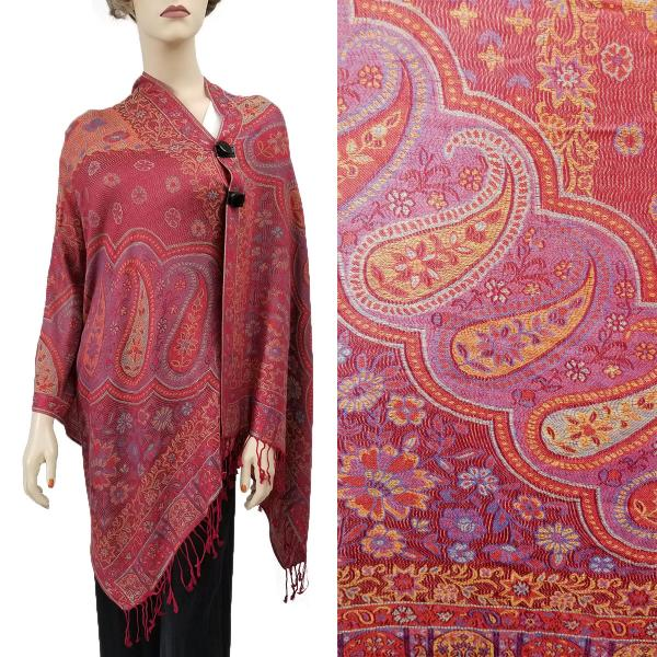 wholesale Pashmina Style Shawls with Buttons Paisley Flowers - Burgundy #52 -