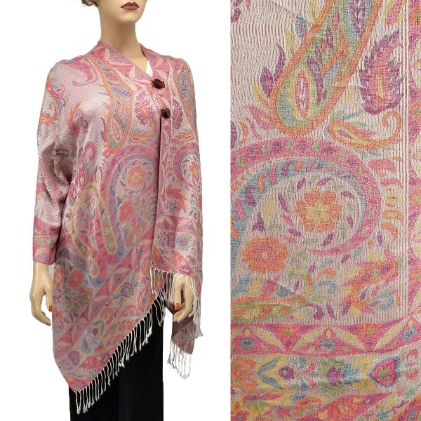 wholesale Pashmina Style Shawls with Buttons Mixed Paisley - Off-White #53 -