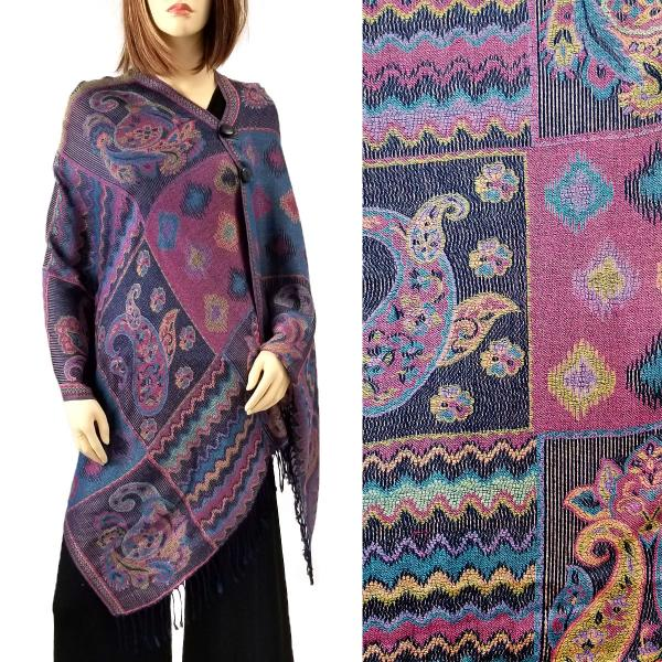 wholesale Pashmina Style Shawls with Buttons Patchwork Paisley - Navy-Purple #54 -