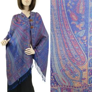 Pashmina Style Shawls with Buttons Large Paisley - Royal #55 -