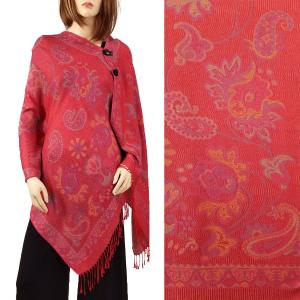 Pashmina Style Shawls with Buttons Paisley - Red #56 -