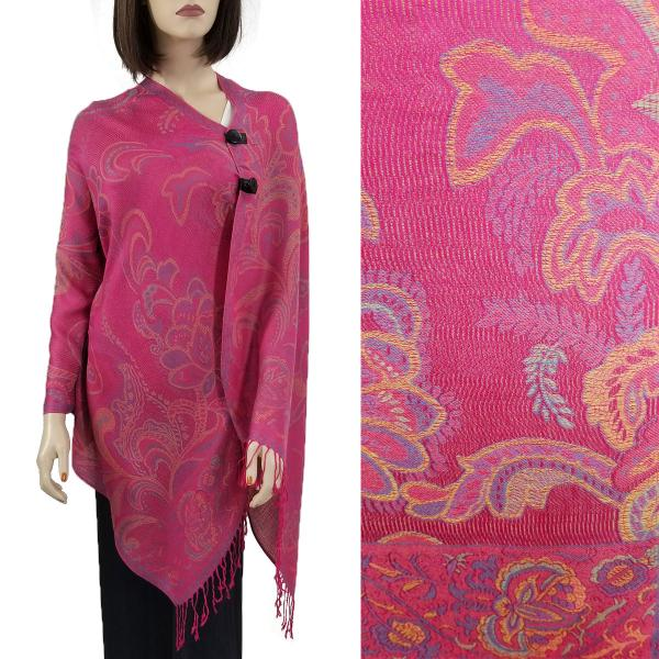 Pashmina Style Shawls with Buttons Paisley Floral - Magenta #57 -