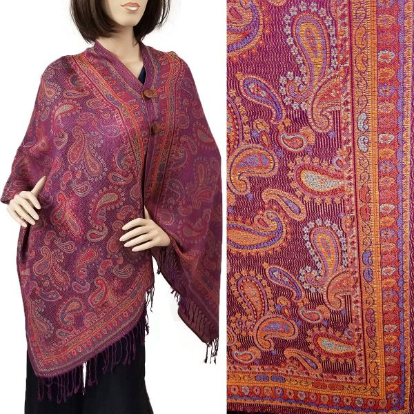 wholesale Pashmina Style Shawls with Buttons Small Paisley - Purple #58 -