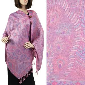 Pashmina Style Shawls with Buttons Feathers - Pink #61 -