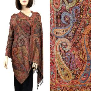 Pashmina Style Shawls with Buttons Paisley - Multi #63 -