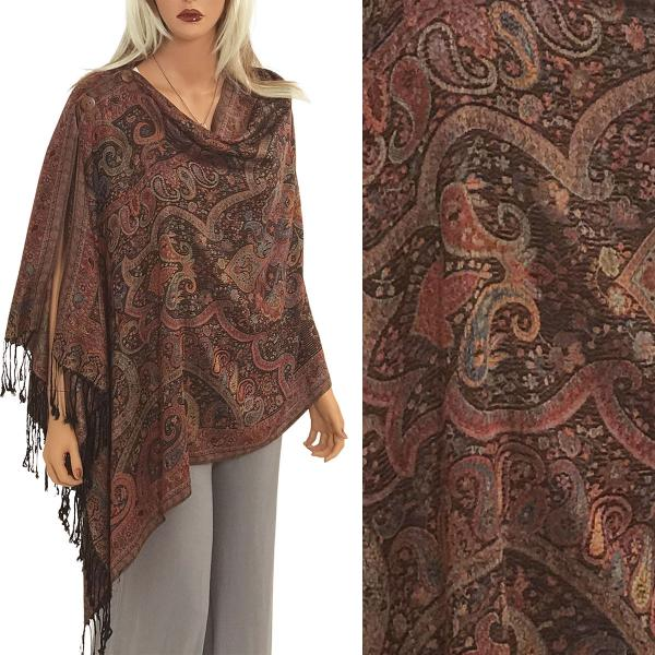 wholesale Pashmina Style Shawls with Buttons Paisley - Multi #63 -