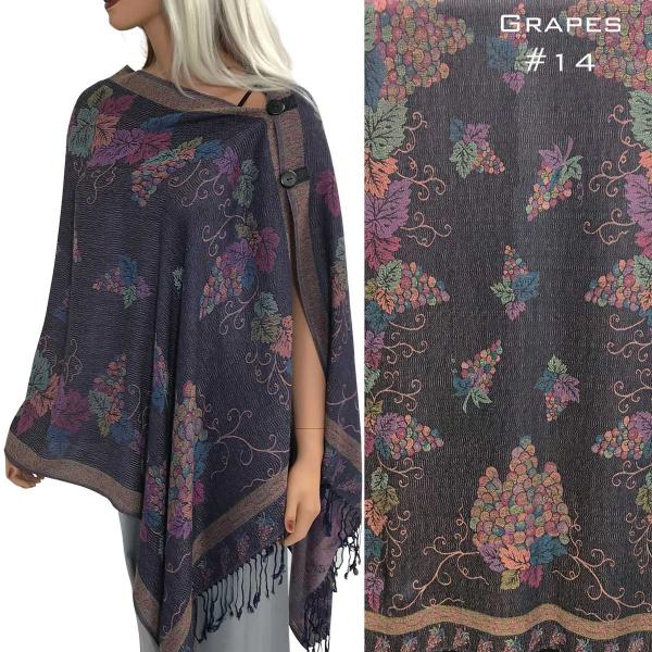 wholesale Pashmina Style Shawls with Buttons GRAPES DARK PURPLE #14 Pashmina Style Shawl with Wooden Buttons -