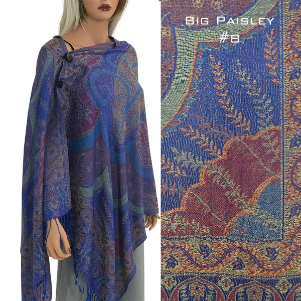 wholesale Pashmina Style Shawls with Buttons BIG PAISLEY #008 Pashmina Style Shawl with Buttons -