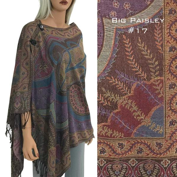 wholesale Pashmina Style Shawls with Buttons BIG PAISLEY #017 Pashmina Style Shawl with Buttons -