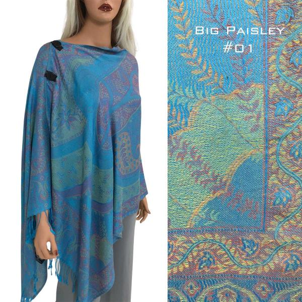 wholesale Pashmina Style Shawls with Buttons BIG PAISLEY #001 Pashmina Style Shawl with Buttons -