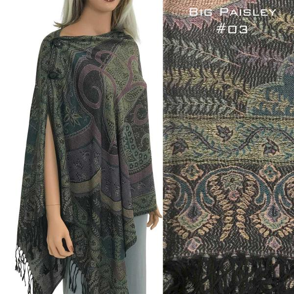 wholesale Pashmina Style Shawls with Buttons BIG PAISLEY #003 Pashmina Style Shawl with Buttons -