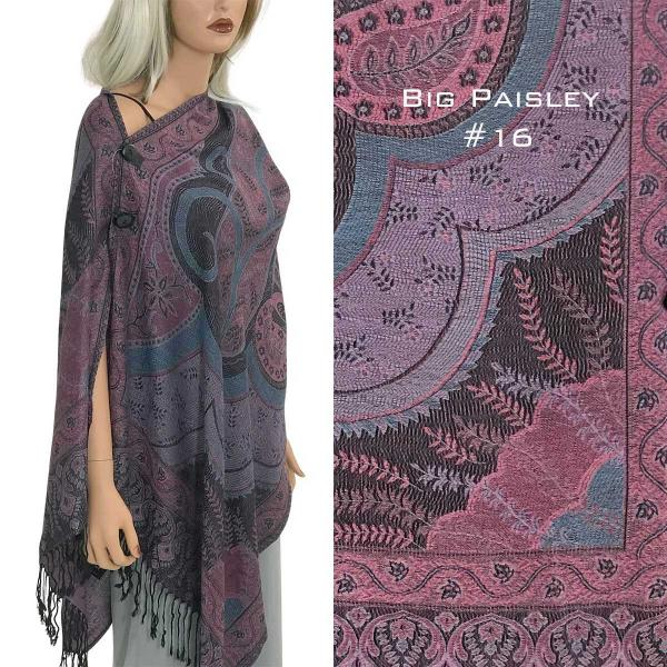 wholesale Pashmina Style Shawls with Buttons BIG PAISLEY #016 Pashmina Style Shawl with Buttons -