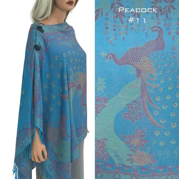 wholesale Pashmina Style Shawls with Buttons PEACOCK TURQUOISE #11 Pashmina Style Shawl with Wooden Buttons -