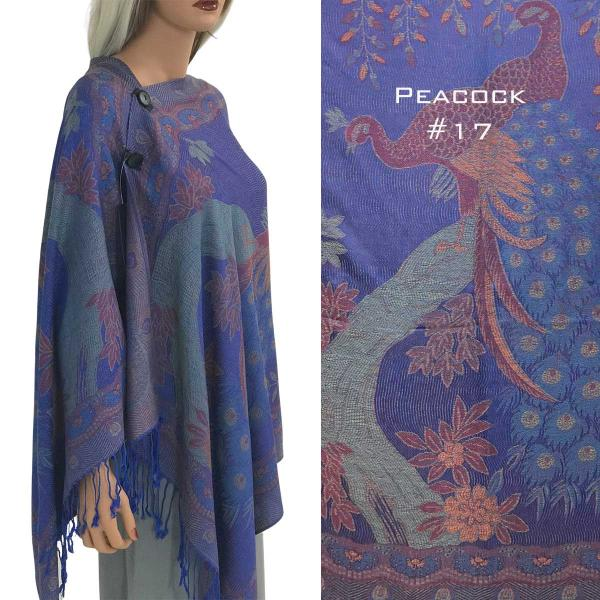 wholesale Pashmina Style Shawls with Buttons PEACOCK ROYAL #17 Pashmina Style Shawl with Wooden Buttons -