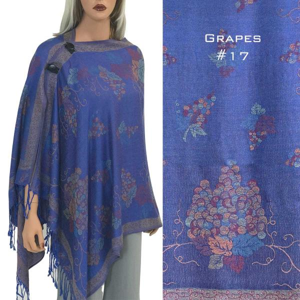wholesale Pashmina Style Shawls with Buttons GRAPES ROYAL  #17 Pashmina Style Shawl with Wooden Buttons -