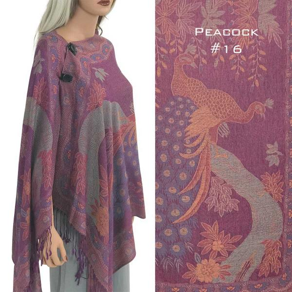 wholesale Pashmina Style Shawls with Buttons PEACOCK MAGENTA #16 Pashmina Style Shawl with Wooden Buttons -