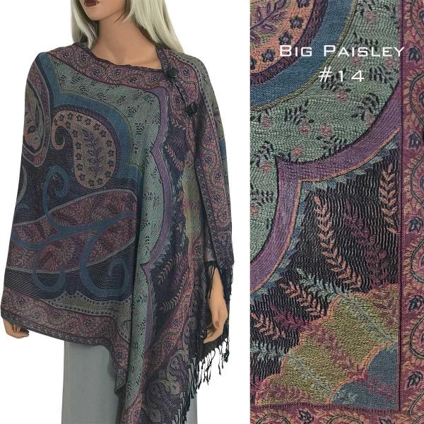 wholesale Pashmina Style Shawls with Buttons BIG PAISLEY #014 Pashmina Style Shawl with Buttons -