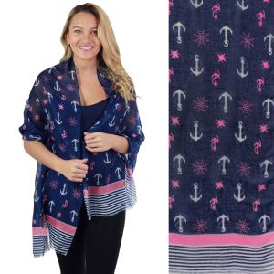 Nautical Print Scarves and Shawls Oblong Scarves - Nautical Prints - 5060 Nautical Print Pink -