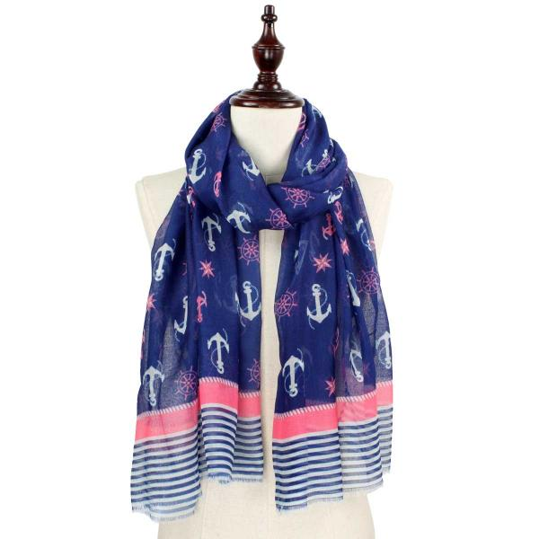 Wholesale Nautical Print Scarves and Shawls ANCHOR AND WHEEL PRINT 5060 NAVY/PINK Nautical Print Scarf/Shawl -