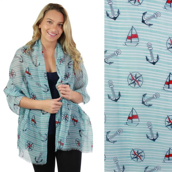 Wholesale Nautical Print Scarves and Shawls SEAFARING SYMBOLS 5062 AQUA/WHITE STRIPE Nautical Print Scarf/Shawl -