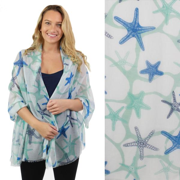 Nautical Print Scarves and Shawls Oblong Scarves - Nautical Prints - 5064 Starfish Print Blue -