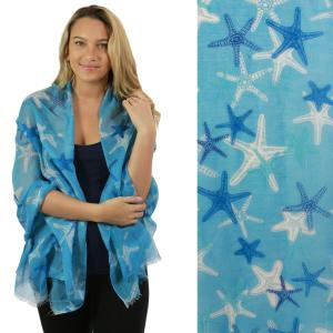Nautical Print Scarves and Shawls Oblong Scarves - Nautical Prints - 5074 Starfish Print Blue -