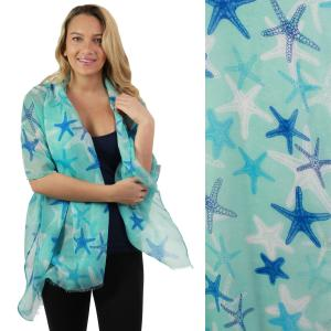 Nautical Print Scarves and Shawls Oblong Scarves - Nautical Prints - 5074 Starfish Print Mint -
