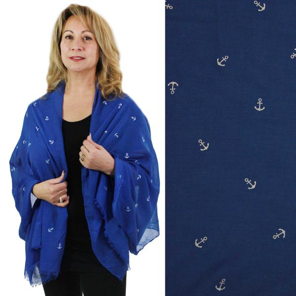 Wholesale Nautical Print Scarves and Shawls MINI ANCHOR 8317 NAVY Nautical Print Scarves and Shawls -