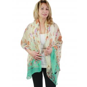 Nautical Print Scarves and Shawls Big Scarves/Shawls - Sparkling Sea Life 1235 - Ivory -