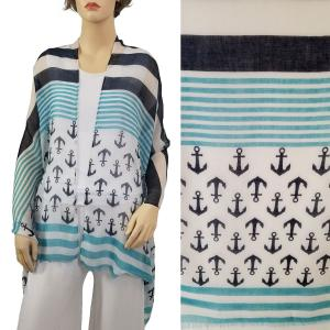 Nautical Print Scarves and Shawls Oblong Scarves - Nautical Prints - 9422 Anchor & Stripe Print Mint -