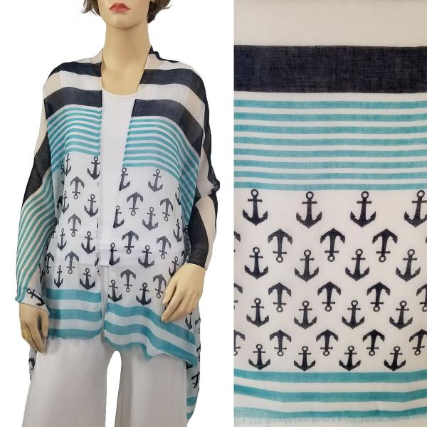 Wholesale Nautical Print Scarves and Shawls ANCHOR AND STRIPE PRINT MINT 9422 Nautical Print Scarf/Shawl  -