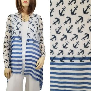 Nautical Print Scarves and Shawls Oblong Scarves - Nautical Prints - 9424 Anchor & Stripe Print Blue -