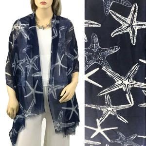Nautical Print Scarves and Shawls Oblong Scarves - Nautical Prints - 9431 Starfish Print Navy -