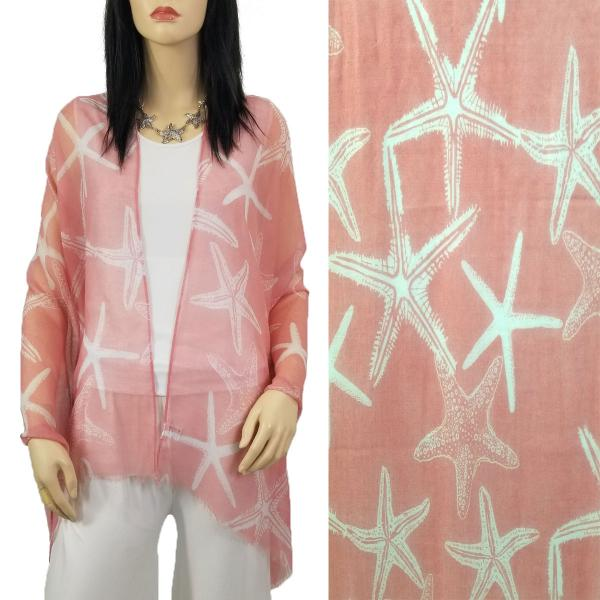 Nautical Print Scarves and Shawls Oblong Scarves - Nautical Prints - 9431 Starfish Print Pink -