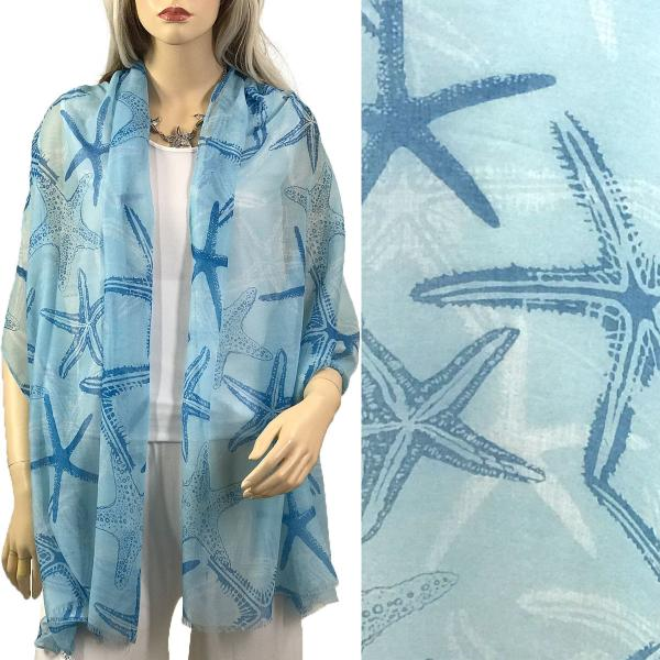 Nautical Print Scarves and Shawls Oblong Scarves - Nautical Prints - 9433 Starfish Print Light Blue -